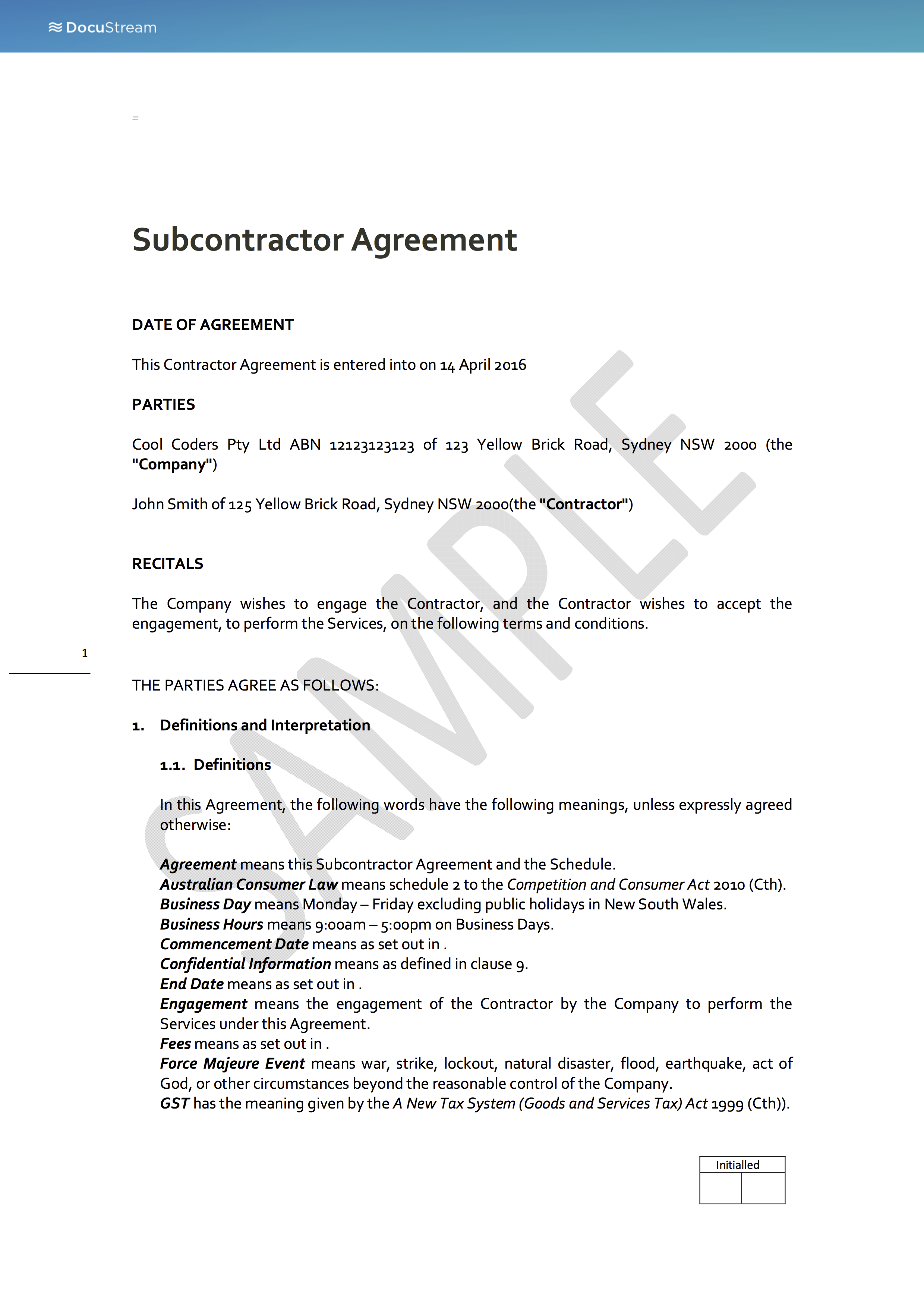 subcontractors agreement template - back to back subcontractor agreement docustream