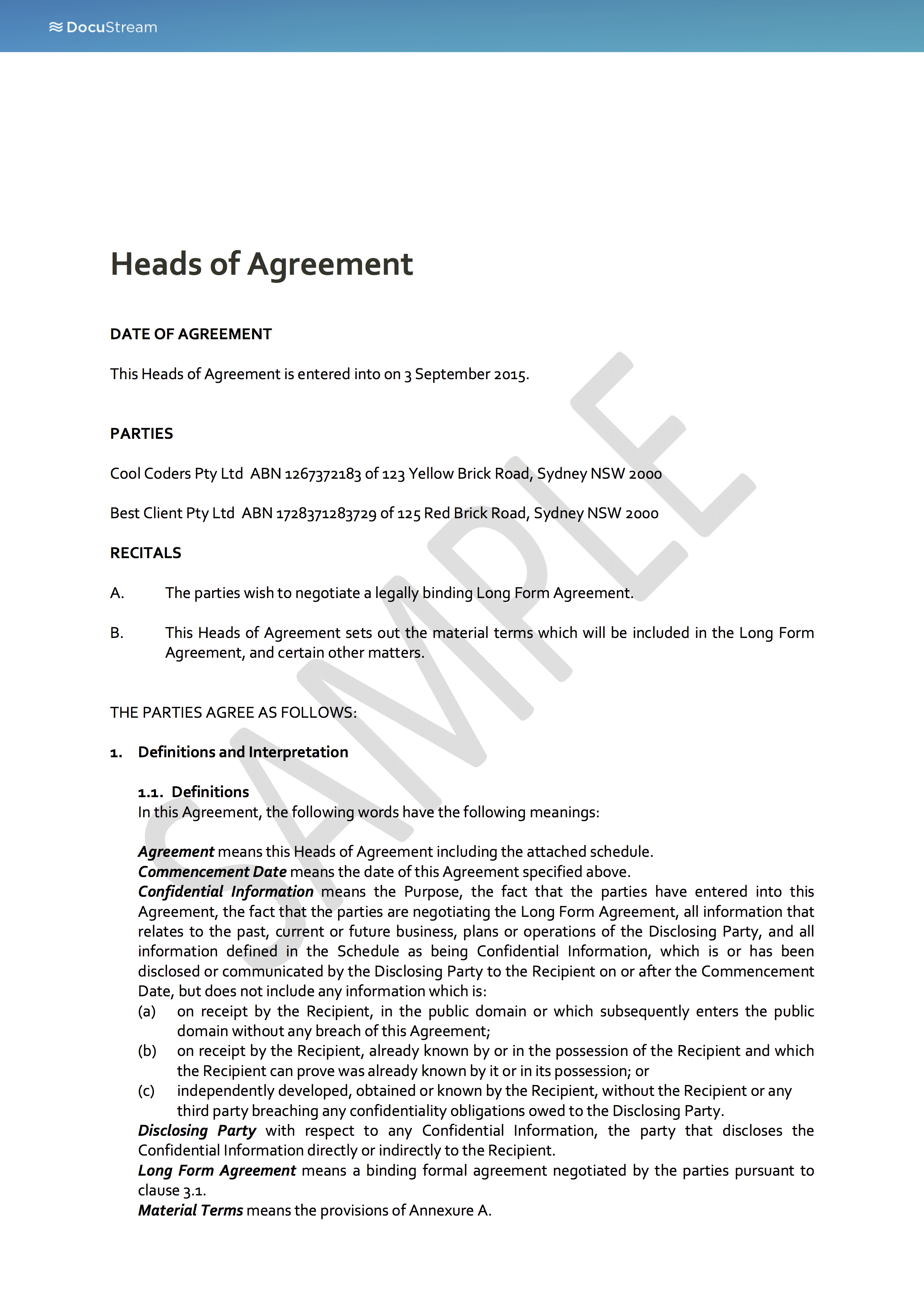 Nice Why Use DocuStream? With Heads Of Agreement Template Free