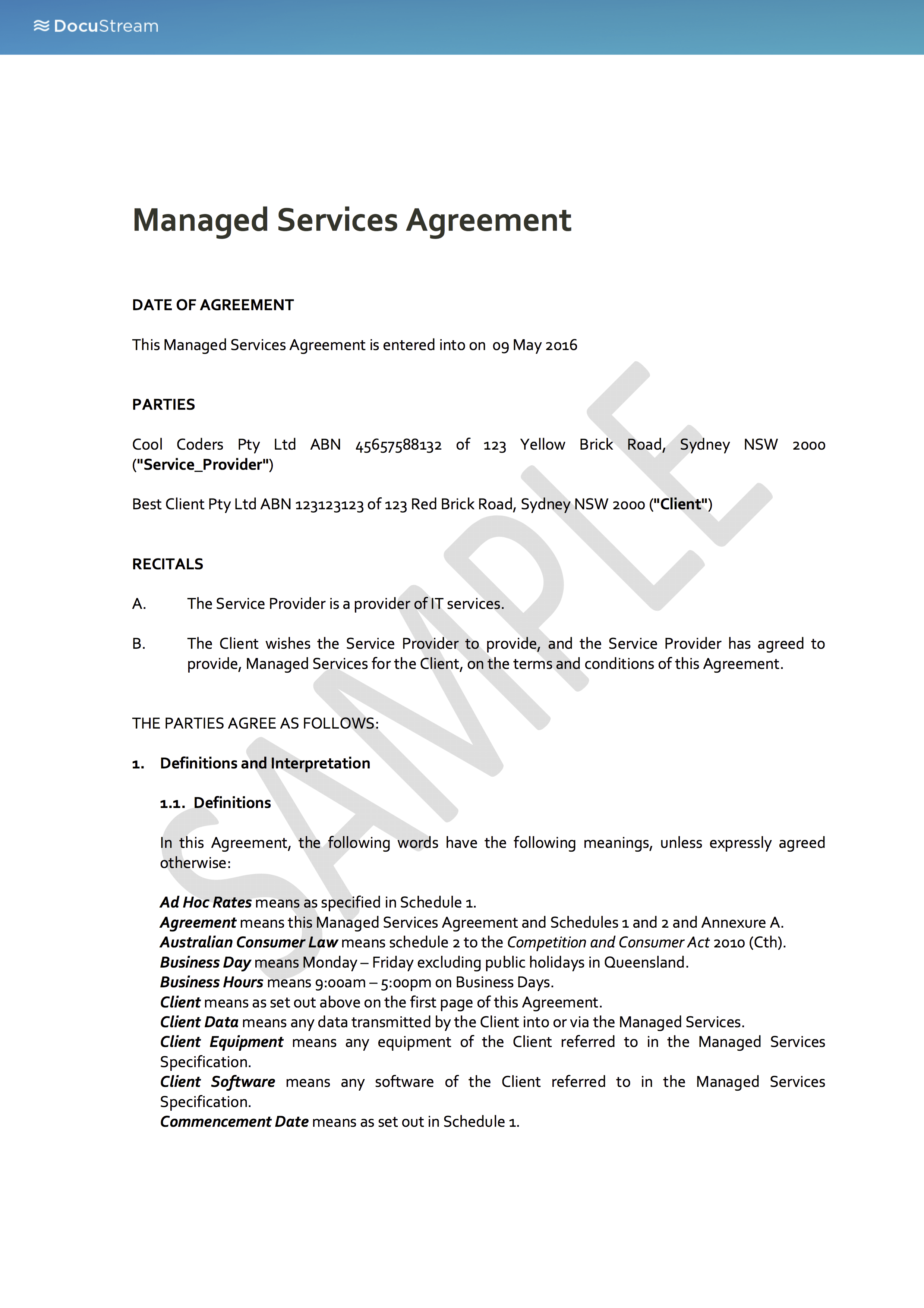 Managed Services Agreement – Words of Agreement